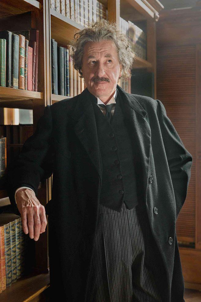 Geoffrey Rush as Albert Einstein in his older years.