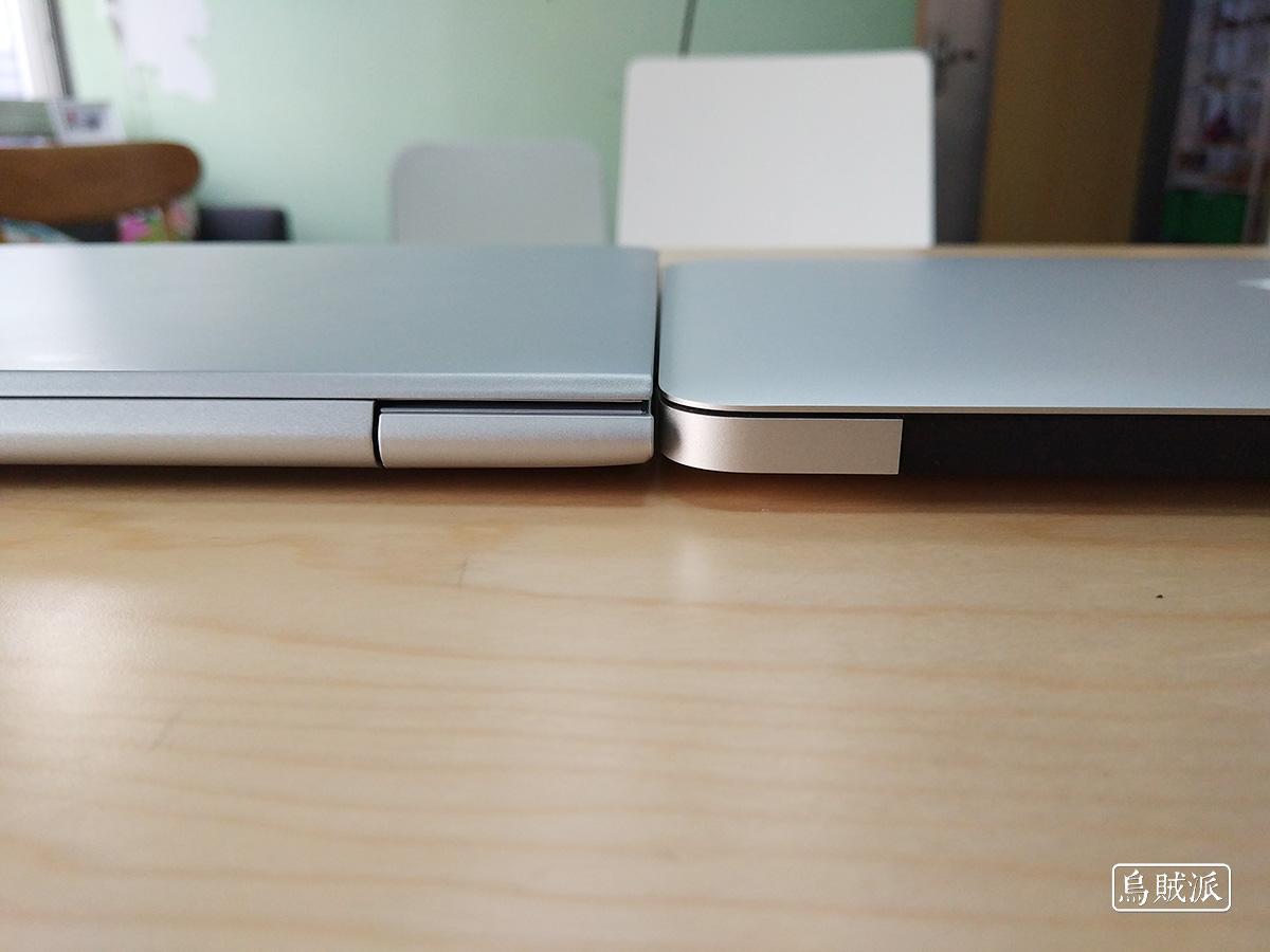 联想小新 Air 13 Pro 和 MacBook Air 厚度对比